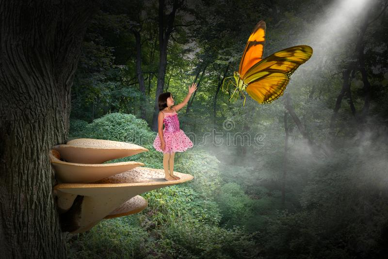 Fantasy Nature, Peace, Love, Hope, Spiritual Rebirth. A young girl stands on a toadstool or mushroom with a butterfly in the woods. Abstract concept for peace stock illustration