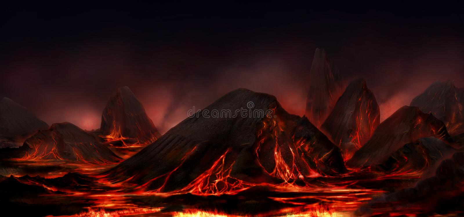 Fantasy night mountains and lava dark landscape. Digital image background royalty free illustration