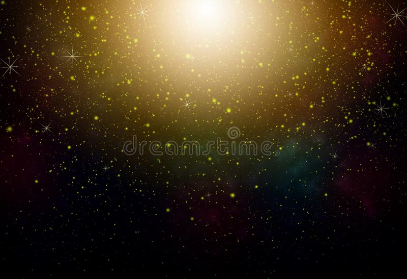 Fantasy night sky. With yellow stars and nebula stock photography