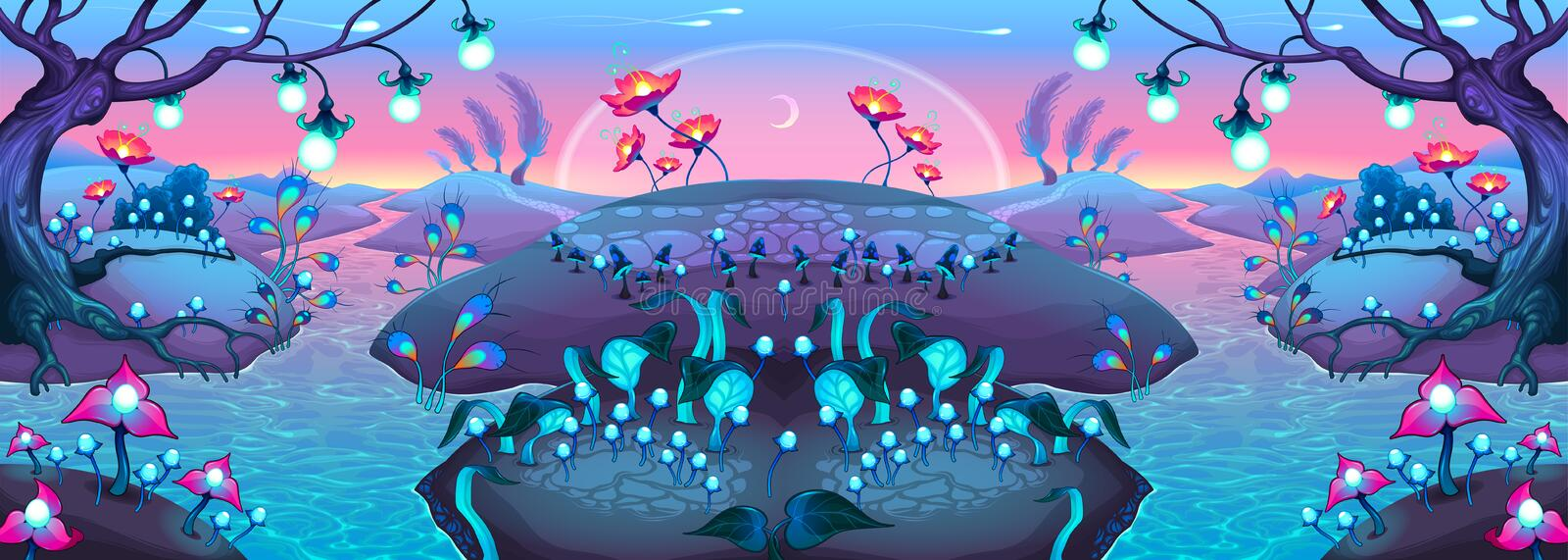 Fantasy nocturnal landscape. Cartoon vector illustration stock illustration