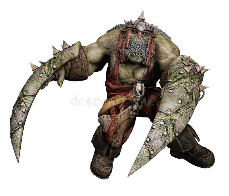 Fantasy orc warrior with shields stock illustration