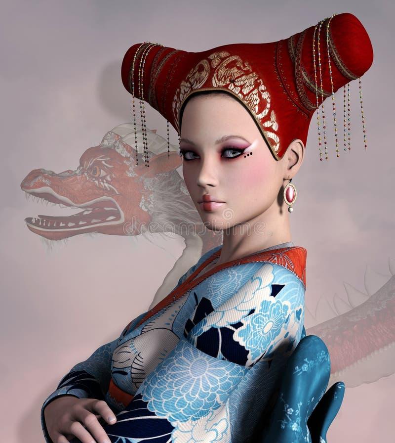 Fantasy oriental woman portrait. Portrait of a beautiful fantasy oriental woman royalty free illustration