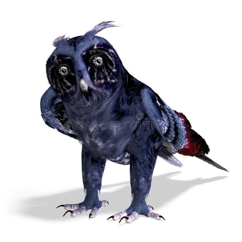 Fantasy owl in dark blue colors vector illustration