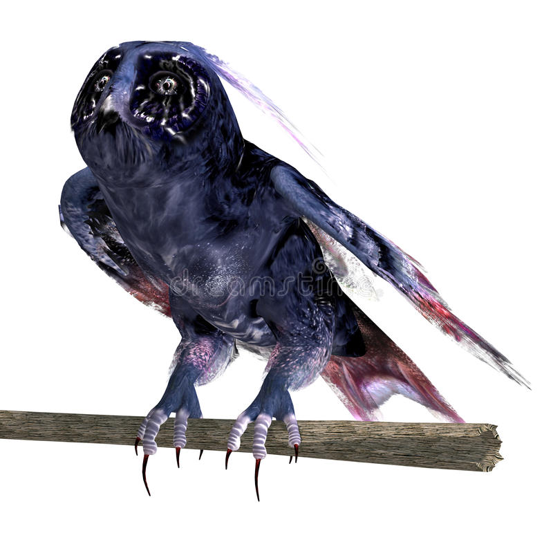Fantasy owl in dark blue colors. 3D rendering vector illustration