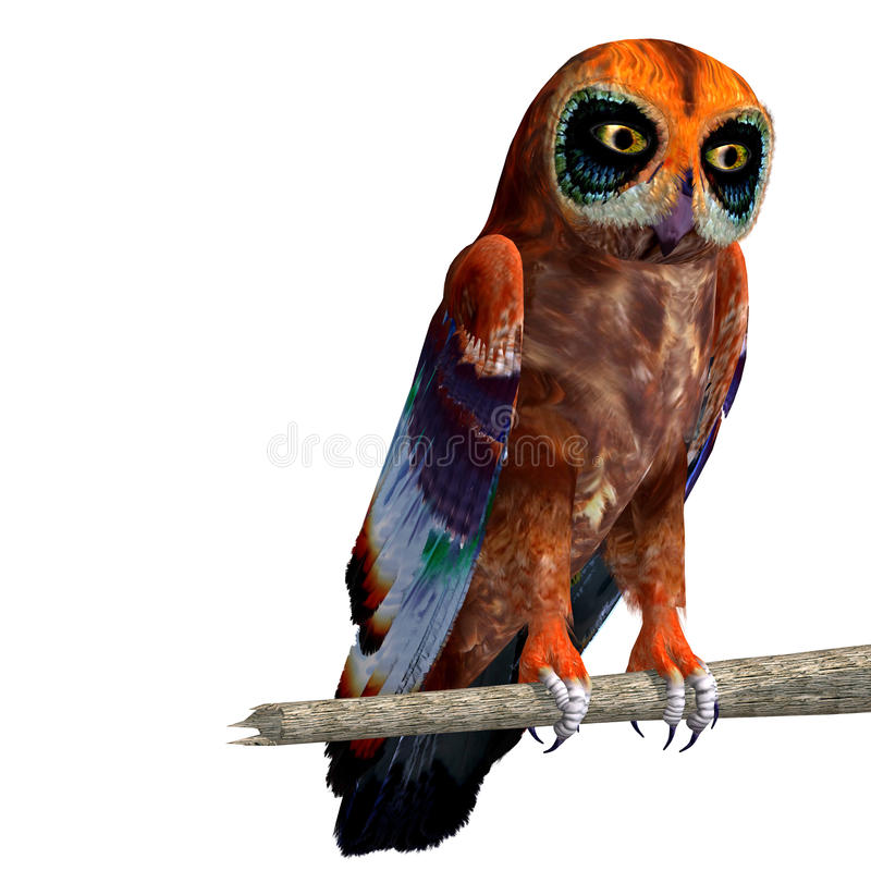 Fantasy owl with rainbow colors. 3D rendering vector illustration