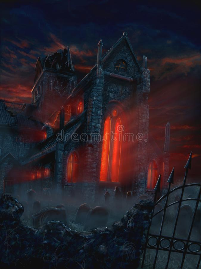 Free Fantasy Painting Of Terrifying Mysterious Church And Graveyard Royalty Free Stock Photo - 133824805