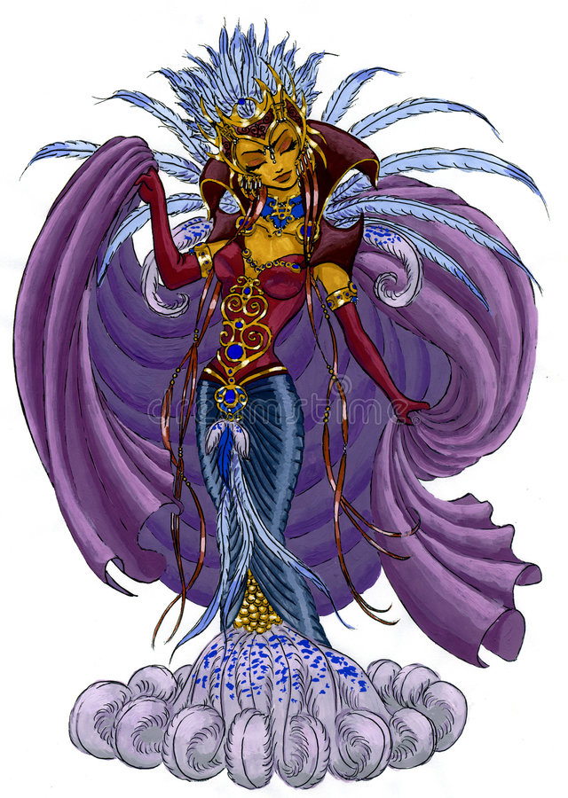 Fantasy painting of a sorceress royalty free illustration