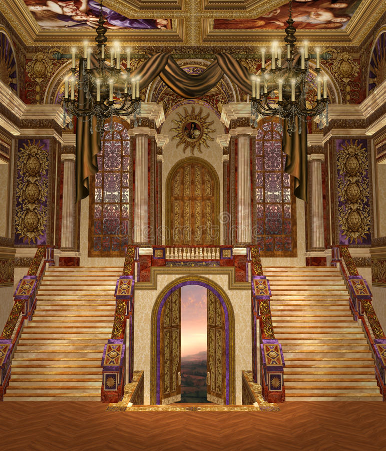 Fantasy palace 2. Fantasy palace hall with fancy chandeliers royalty free illustration