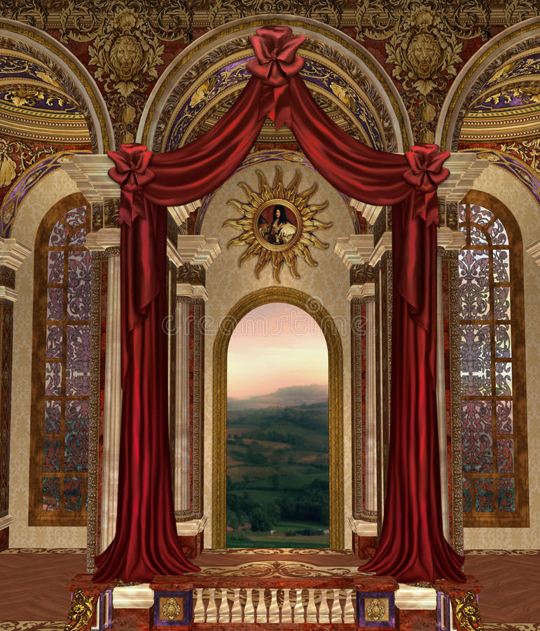 Fantasy palace 3. Fantasy palace window with red curtains vector illustration