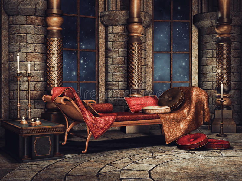 Fantasy palace chamber. Chamber in a fantasy palace with a sofa, candles and cushions vector illustration