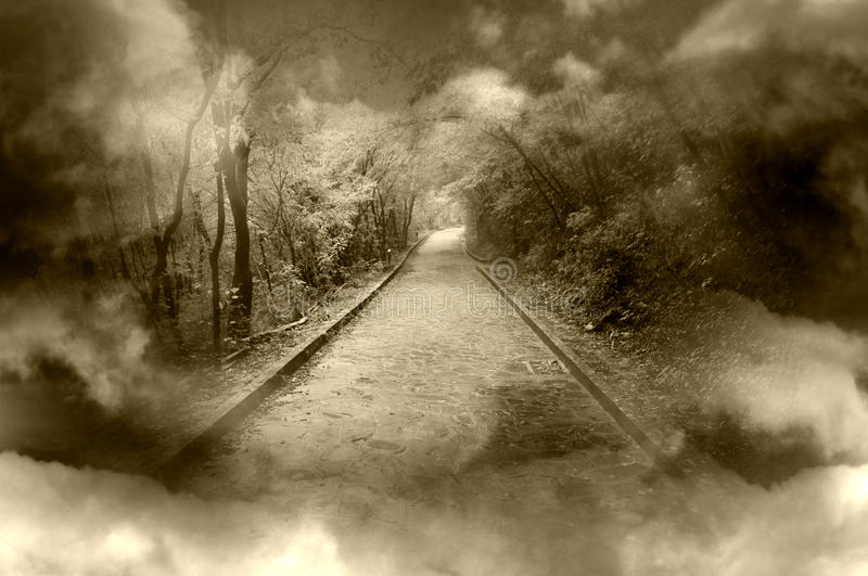 Fantasy pathway. Fog and clouds with fantasy pathway stock images