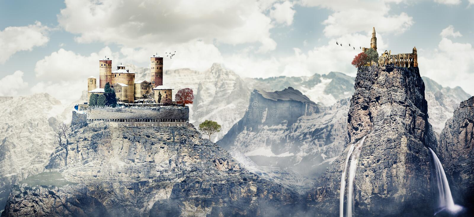 Fantasy photomanipulation of medieval landscape in winter with c. Astle and ruins stock images