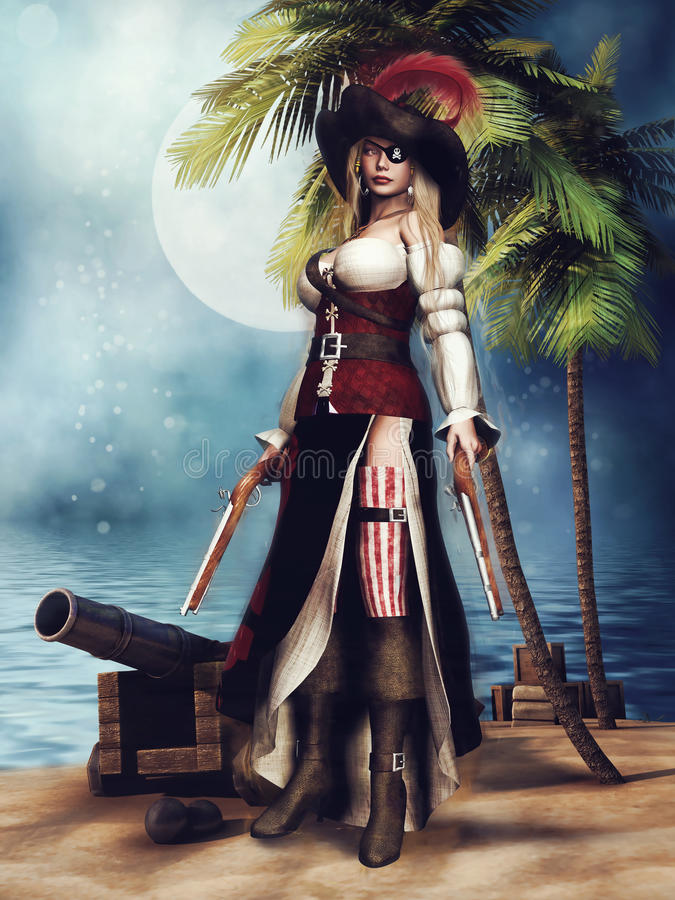 Fantasy pirate girl and cannon vector illustration