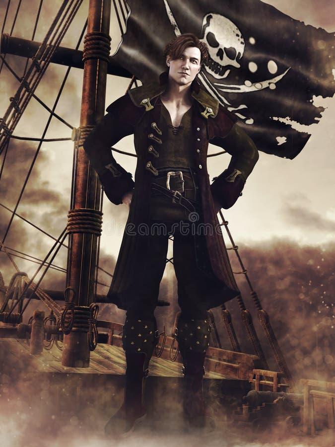 Fantasy pirate, ship and flag stock illustration