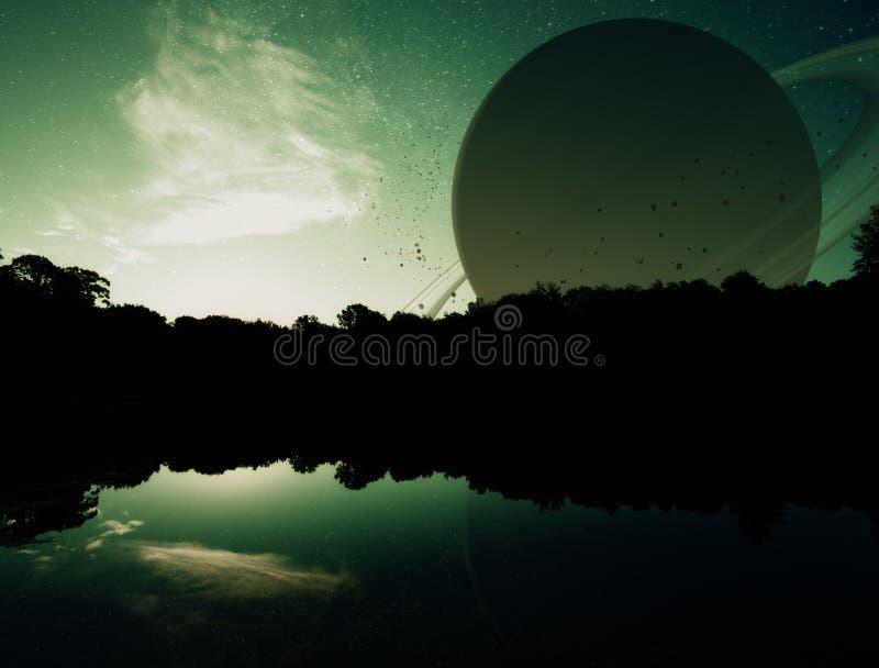Fantasy Planet Sunset royalty free stock image