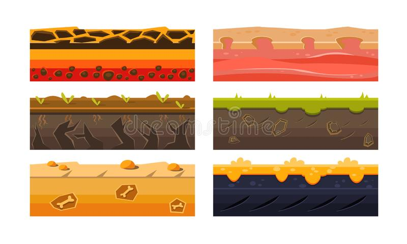 Fantasy Platforms Set, Ground Textures for Mobile or Computer Games User Iinterface Vector Illustration vector illustration