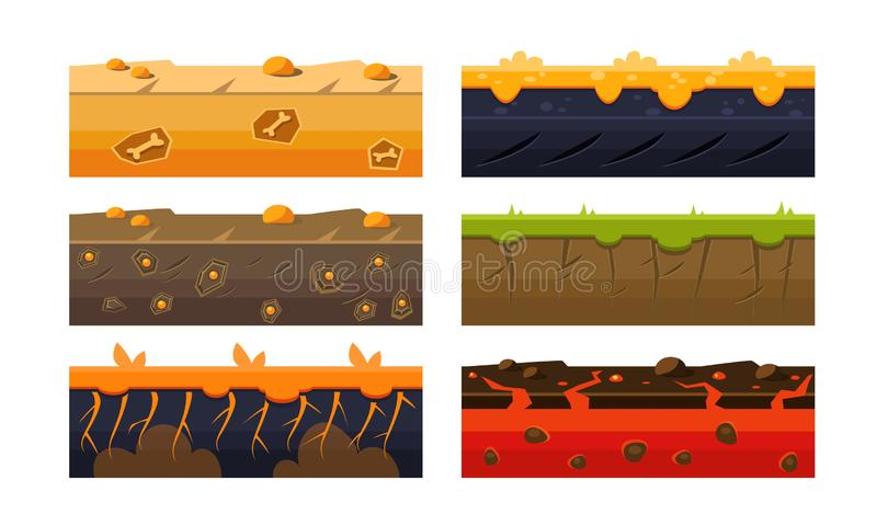 Fantasy Platforms Set, Soil Layers for Mobile or Computer Games User Iinterface Vector Illustration stock illustration