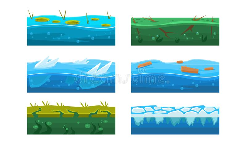 Fantasy Platforms Set, Water and Ice Textures for Mobile or Computer Games User Iinterface Vector Illustration stock illustration