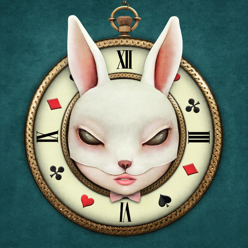 Fantasy Pocket Watch. Fantasy illustration with a pocket watch Wonderland and head mask bunny girl. Computer graphics royalty free illustration