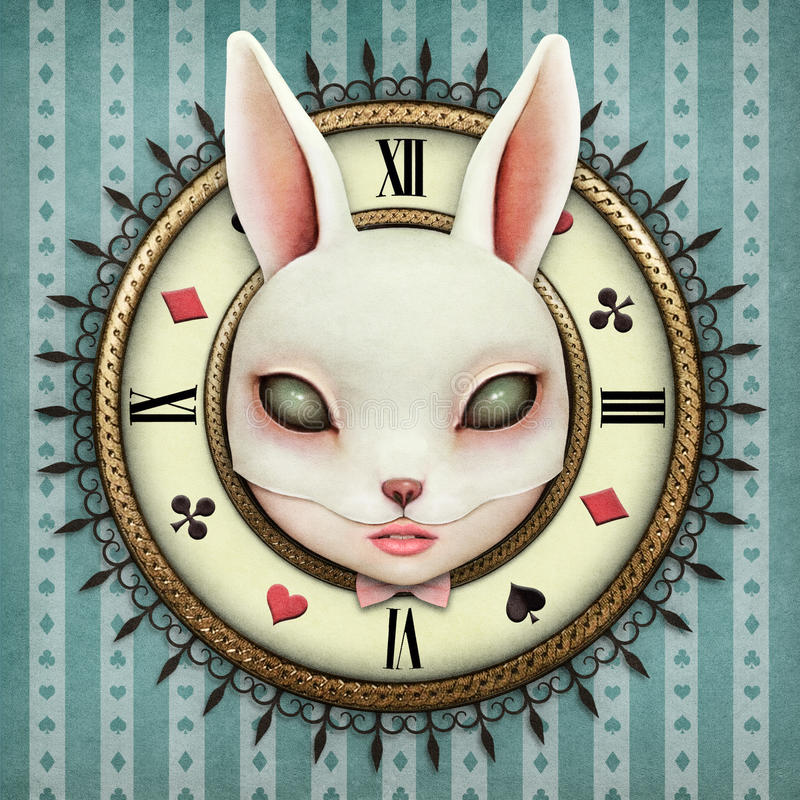 Fantasy Pocket Watch. Fantasy illustration with a pocket watch Wonderland and head mask bunny girl. Computer graphics vector illustration