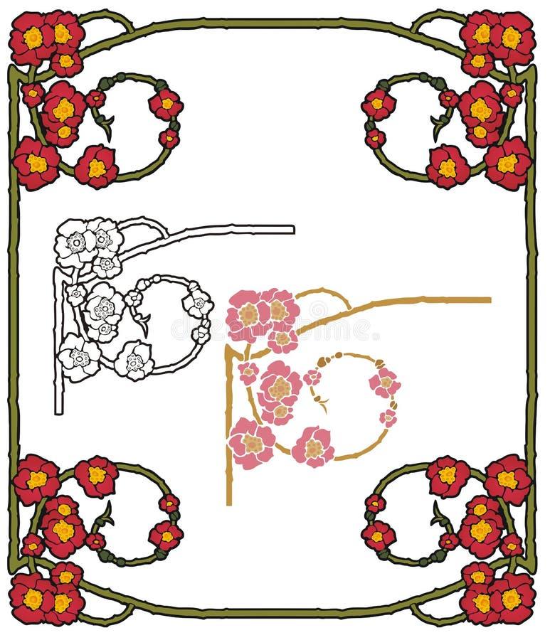 Fantasy poppies border vector illustration