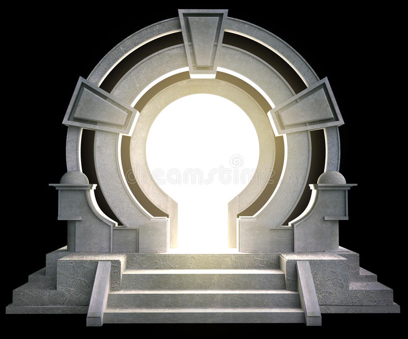 Fantasy portal. With light, isolated on black background royalty free illustration