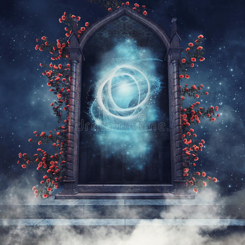 Free Fantasy Portal With Roses Royalty Free Stock Photos - 83379608