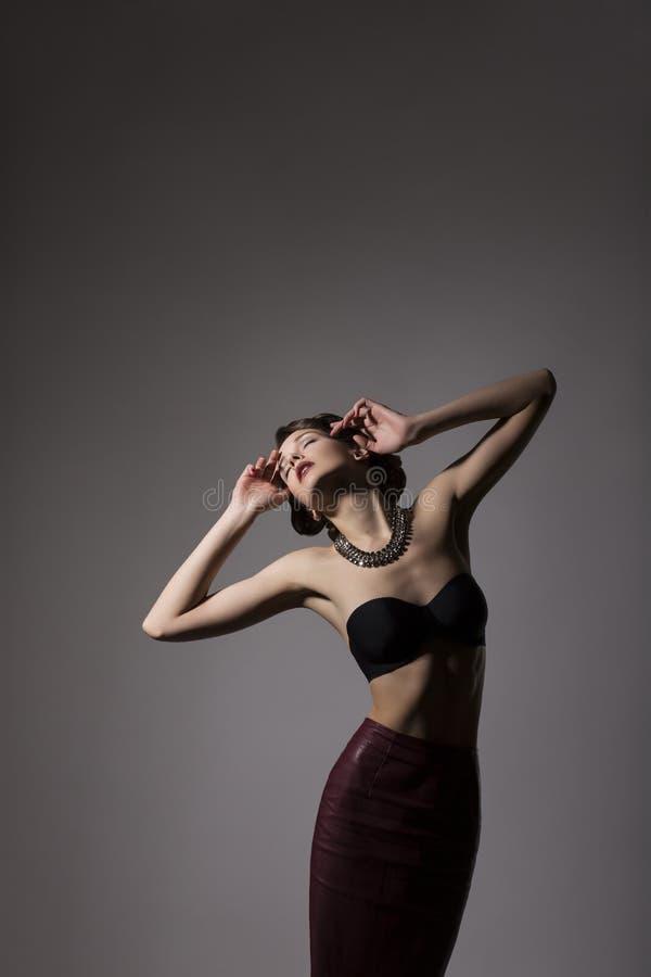 Fantasy. Portrait of Adorable Lady in Black Brasserie. Grace stock image