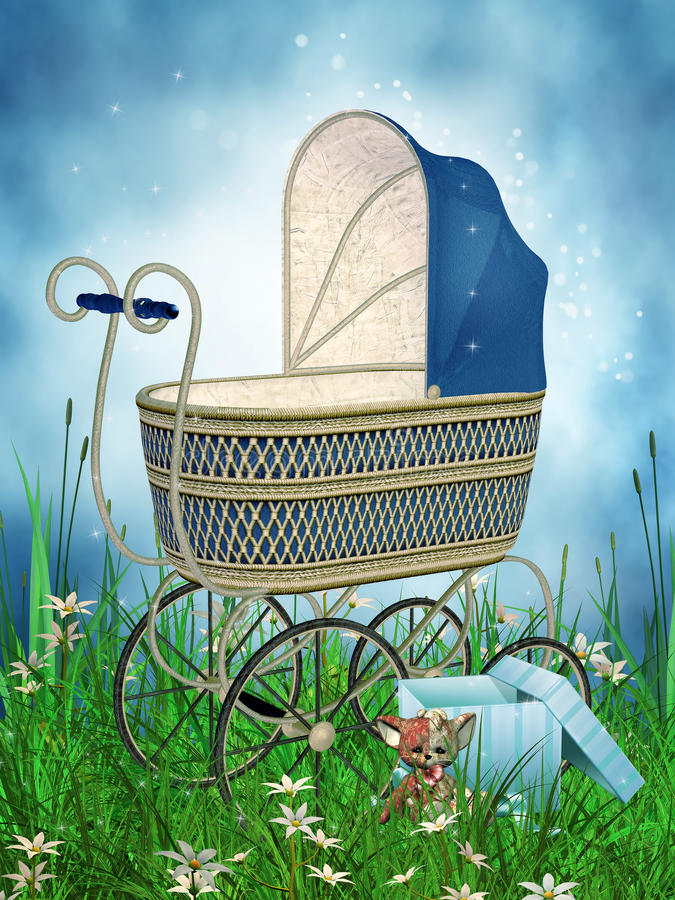 Fantasy pram on a meadow vector illustration