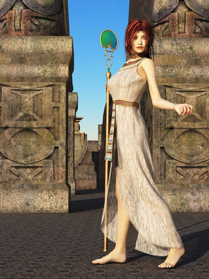 Fantasy priestess vector illustration