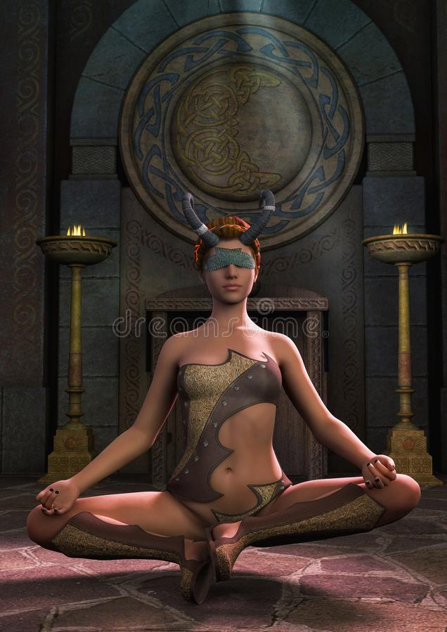 Fantasy priestess blindfold with horns in a meditative pose. vector illustration