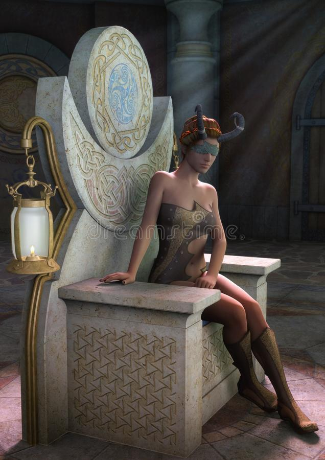 Fantasy priestess blindfold with horns sitting on a throne with a lamp. royalty free illustration