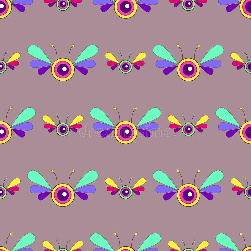 Fantasy psychedelic Insect bright seamless pattern. Vector cartoon butterfly. Character colorful. vector illustration