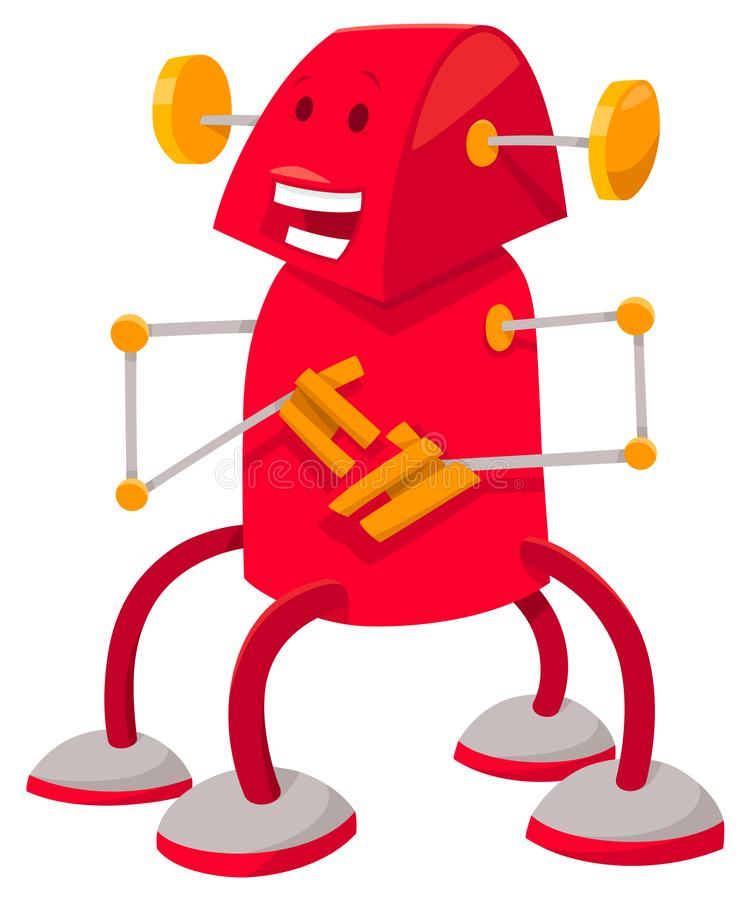 Fantasy red robot or droid cartoon character royalty free illustration