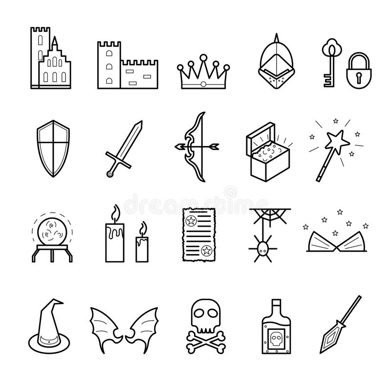 Fantasy Related Signs Black Thin Line Icon Set. Vector. Fantasy Related Signs Black Thin Line Icon Set Include of Sword, Crown, Hat, Wing, Treasure and Potion royalty free illustration
