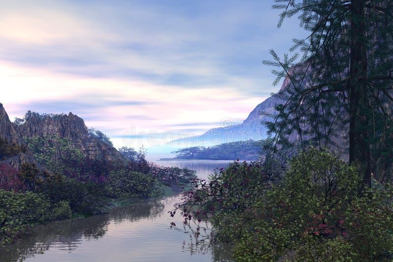 Fantasy river. 3D rendered fantasy river scene illustration on sunset royalty free illustration