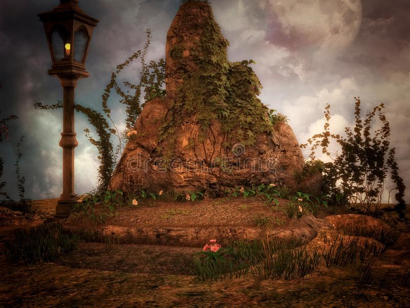 Fantasy Rock with lamp. 3D render of a fantasy rock and lamp scene with clouds and moon royalty free illustration