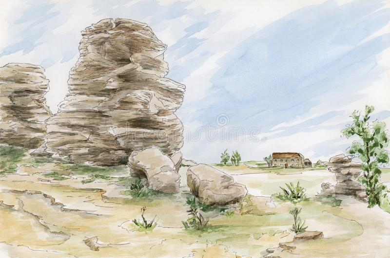 Fantasy rocks formations. Yorkshire, UK. Pencil and watercolor on paper stock illustration