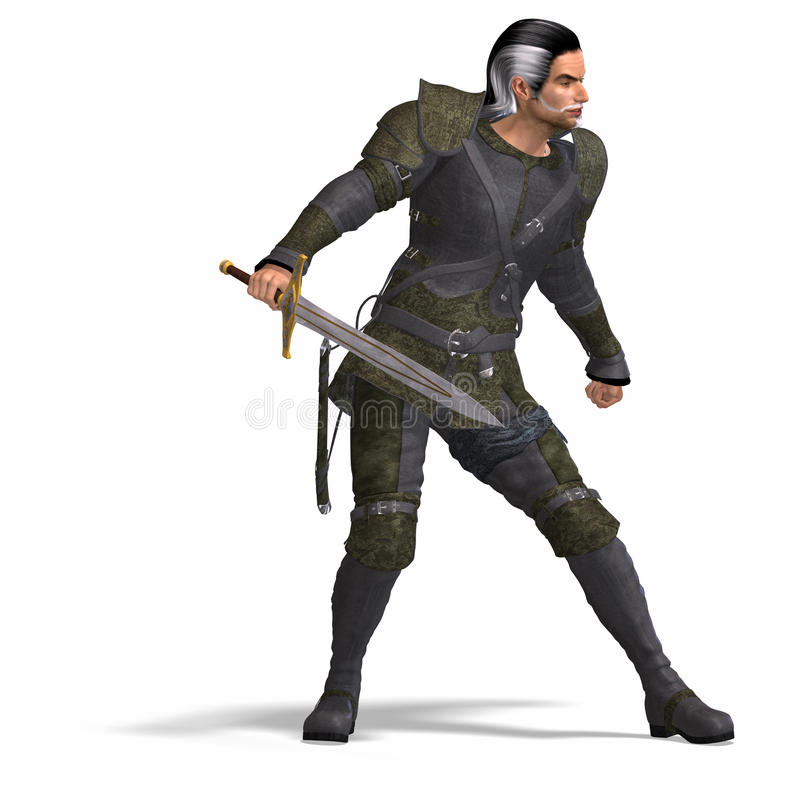 Fantasy Rogue with Sword stock illustration