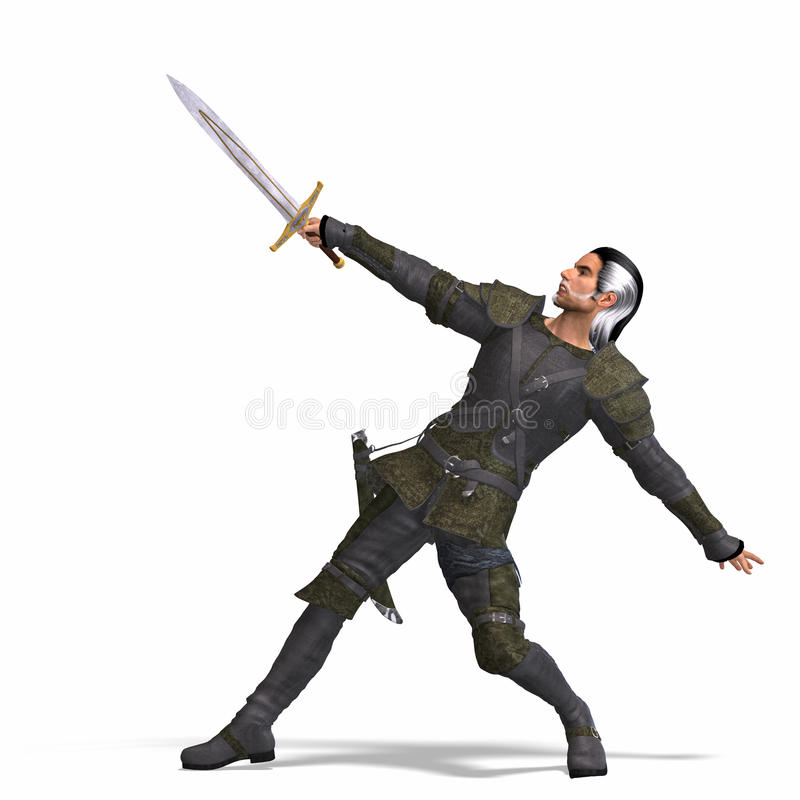 Fantasy Rogue with Sword. Rendering of a male fantasy hero with sword and Clipping Path over white stock illustration