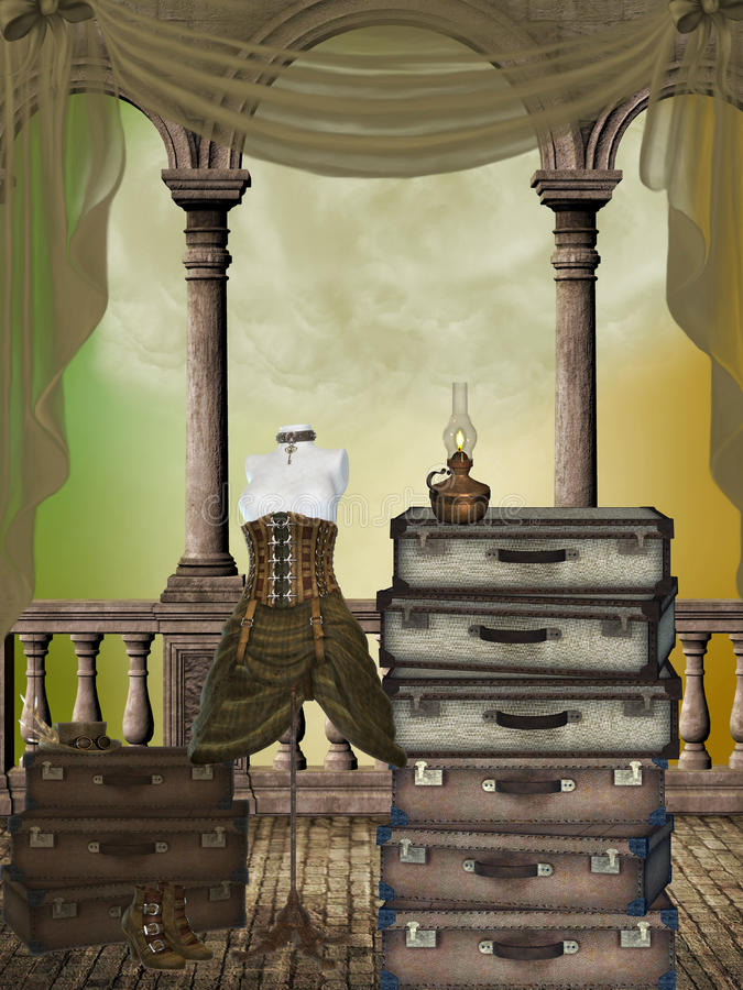 Fantasy room. With suitcases curtains and dress stock illustration