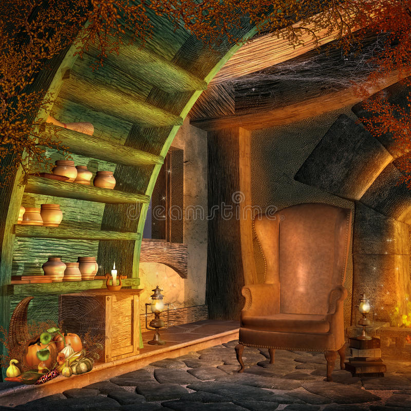 Fantasy room with cornucopia. Decorations, chair and books stock illustration