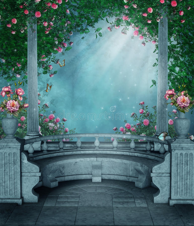 Fantasy rose gazebo stock illustration