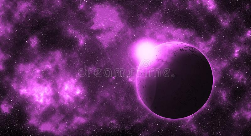 Fantasy round planet in violet future galaxy. Fantasy beautiful wallpaper concept with round planet in imaginary violet galaxy royalty free illustration