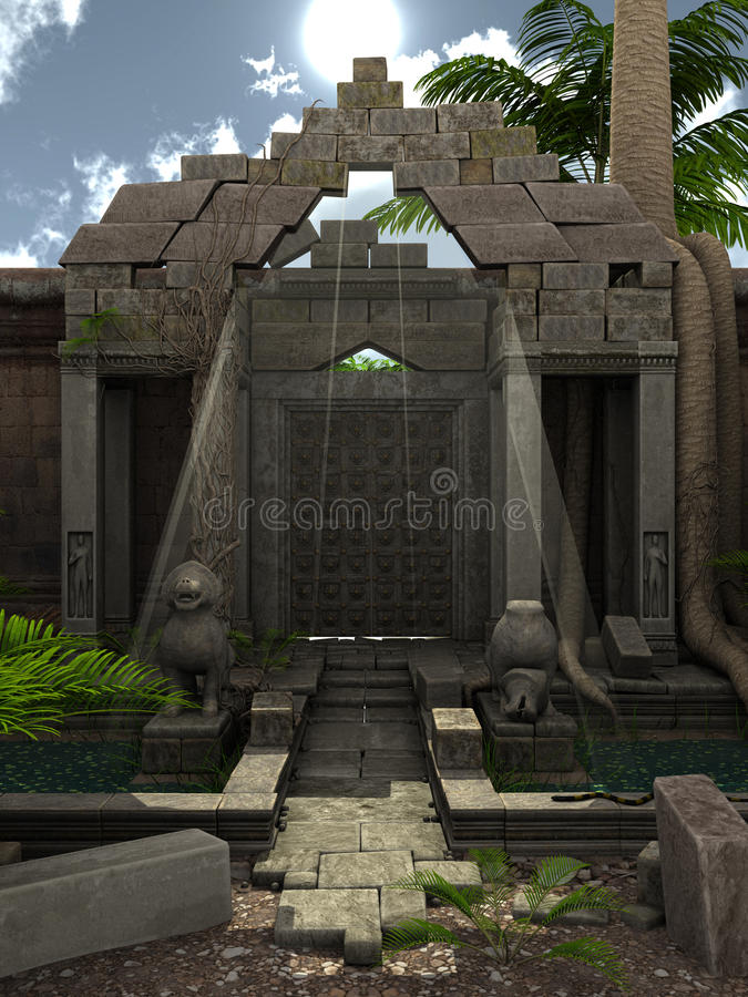 Fantasy ruins. 3D rendered fantasy temple with garden during day royalty free illustration