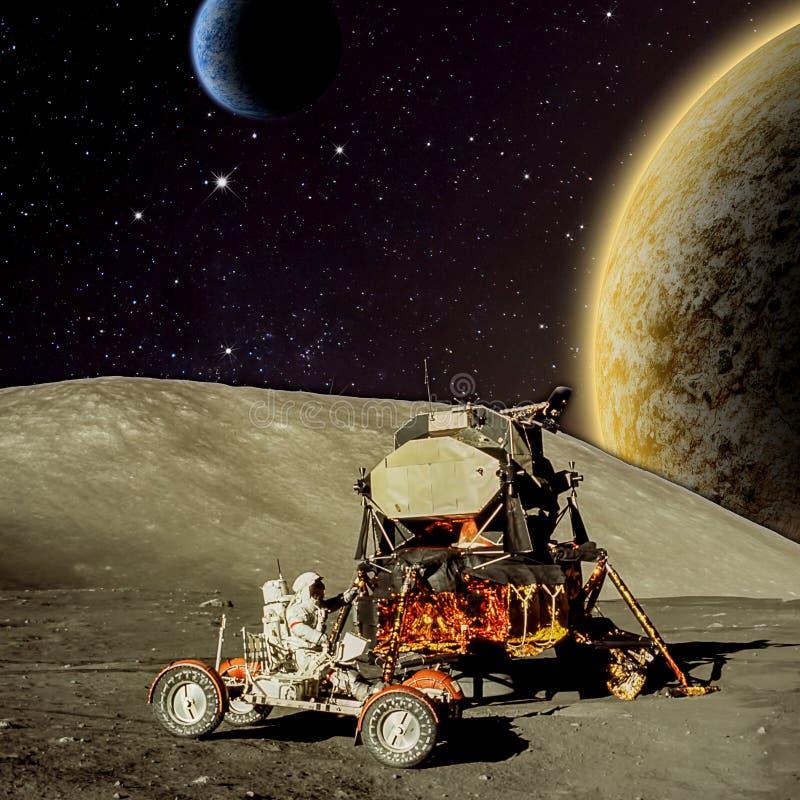 Fantasy scene of an Astronaut on an alien planet royalty free illustration