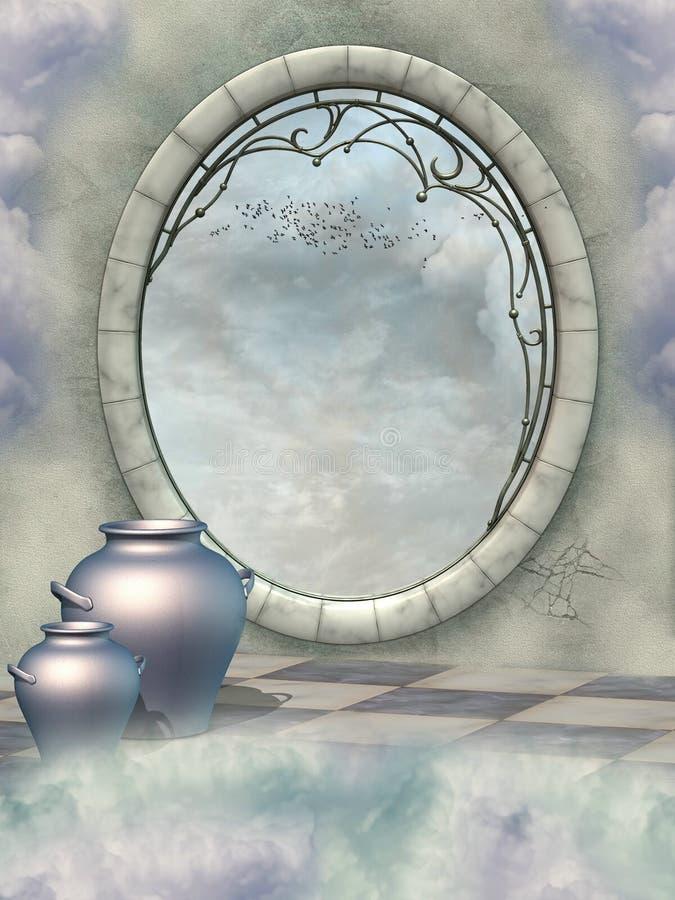 Fantasy scene. With big window and birds stock illustration