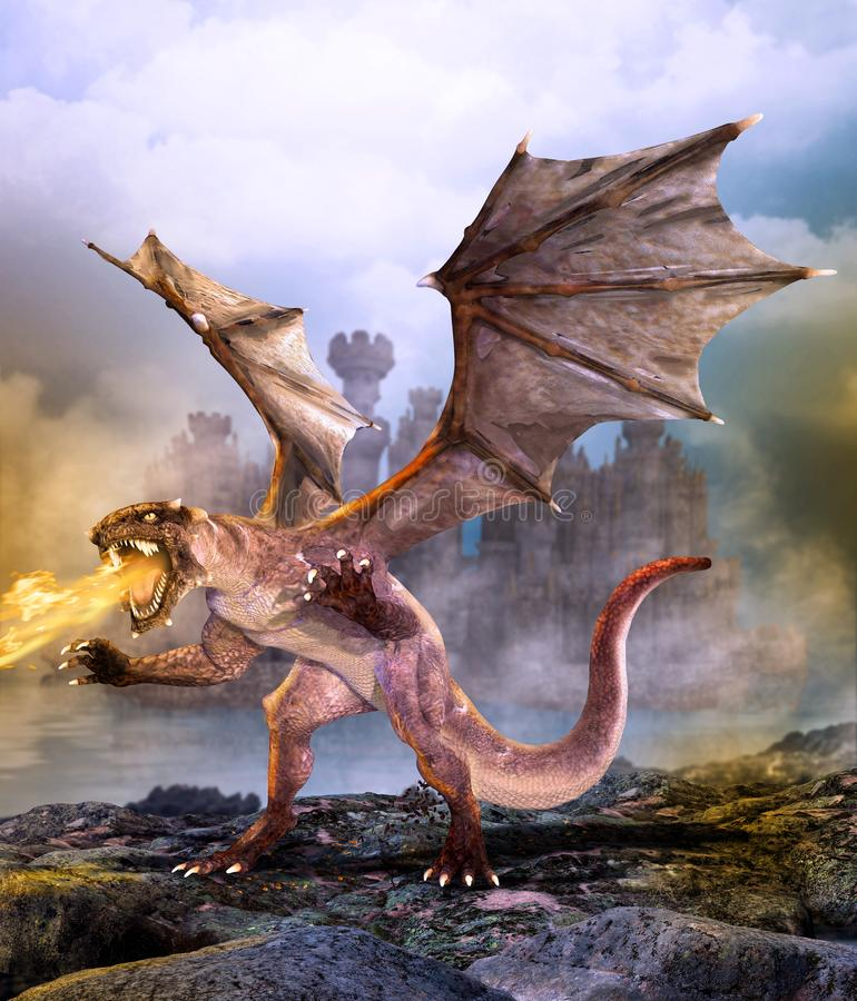 Fantasy scene dragon attacking castle stock illustration