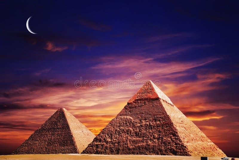 Fantasy scene of giza pyramids royalty free stock image