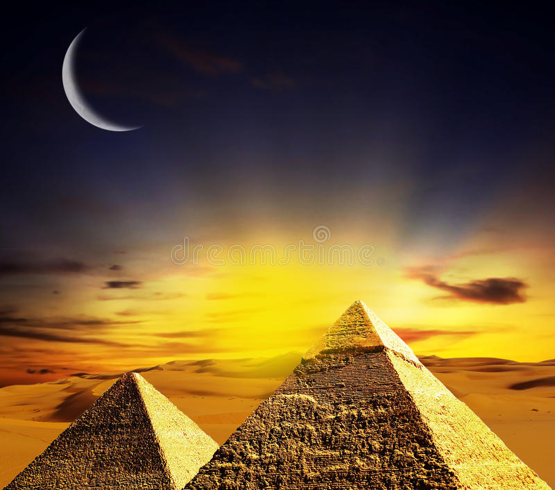 Fantasy scene of giza pyramids stock photo
